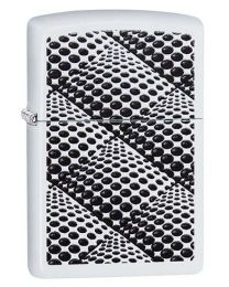 Dots and Boxes White Matte Zippo Lighter - Zippo 29416
