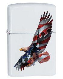 Eagle Flag Soldiers White Matte Zippo Lighter - Zippo 29418