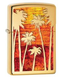 Palm Tree Sunset Fusion Polished Brass Zippo Lighter - Zippo 29420