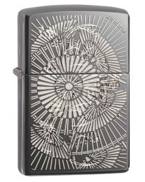 Asian Floral Dark Chrome Zippo Lighter - Zippo 29421