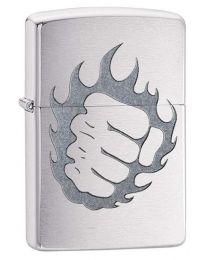 Tattoo Fire and Fist Brushed Chrome Zippo Lighter - Zippo 29428