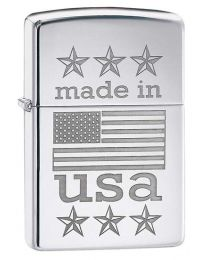 Made in The USA with Flag Polished Chrome Zippo Lighter - Zippo 29430