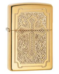 Deep Carved Armor Cross Polished Brass Zippo Lighter - Zippo 29436