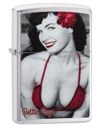 Bettie Page Red Rose Zippo Lighter in Brushed Chrome - Zippo 29439