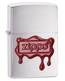 Zippo Wax Seal Emblem Zippo Lighter in Brushed Chrome - Zippo 29492