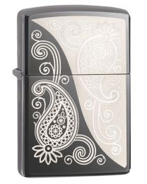 Paisley Design Black Ice Dark Chrome Zippo Lighter - Zippo 29511