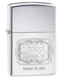 Zippo Bradford PA Polished Chrome Zippo Lighter - Zippo 29521