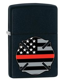 Red Line Flag FireFighter Zippo Lighter in Matte Black - Zippo 29553