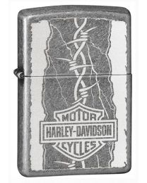 Harley Davidson Barbed Zippo Lighter in Antique Silver Plate - Zippo 29560