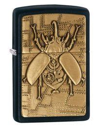 Steampunk Beetle Emblem Zippo Lighter in Matte Black - Zippo 29567
