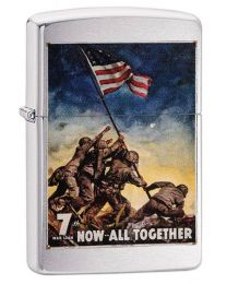 US Marines Poster Zippo Lighter in Brushed Chrome - Zippo 29596