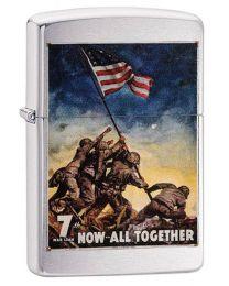 US Marines Poster Zippo Lighter in Brushed Chrome - Zippo 29596
