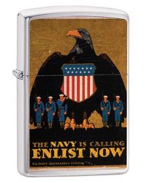 US Navy Poster Enlist Now Zippo Lighter in Brushed Chrome - Zippo 29597