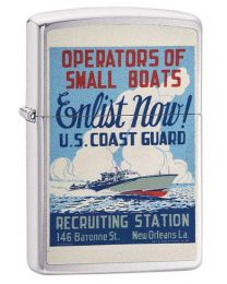 US Coast Guard Poster Zippo Lighter in Brushed Chrome - Zippo 29598