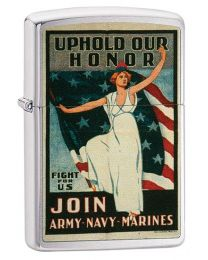 US Army Navy Marines Poster Zippo Lighter in Brushed Chrome - Zippo 29599