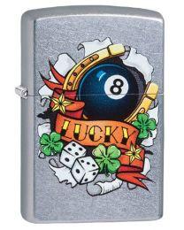 Lucky Tattoo Zippo Lighter in Street Brushed Chrome - Zippo 29604