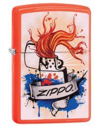 Zippo Splash Zippo Lighter in Neon Orange - Zippo 29605