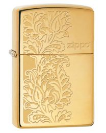 Paisley Zippo Design Zippo Lighter in High Polished Brass - Zippo 29609