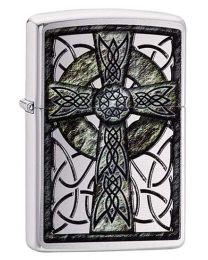 Celtic Cross Design Zippo Lighter in Brushed Chrome - Zippo 29622