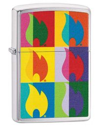 Abstract Flame Design Zippo Lighter in Brushed Chrome - Zippo 29623