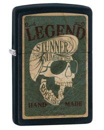 Legendary Skull Design Zippo Lighter in Matte Black - Zippo 29630