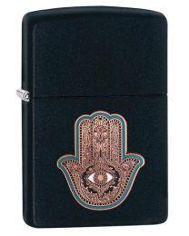 Hamsa Hand Emblem Zippo Lighter in Matte Black - Zippo 29634