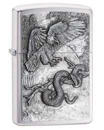 Eagle Vs Snake Zippo Lighter in Brushed Chrome - Zippo 29637