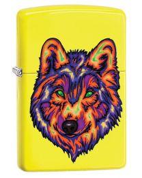 Neon Wolf Zippo Lighter in Neon Yellow - Zippo 29639