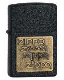 Black Crackle Zippo Lighter with Brass Emblem - Zippo 362