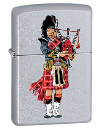 Scottish Bagpiper Satin Chrome Zippo Ligher - Zippo 60000289