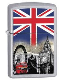 London Scene Satin Chrome Zippo Lighter - Zippo 60001628