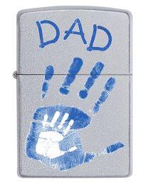 Dad Handprints Satin Chrome Zippo Lighter - Zippo 60002896