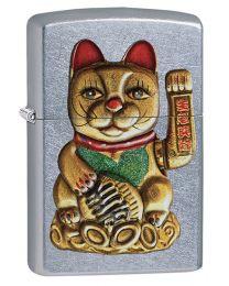 Lucky Cat Maneki-Neko Street Chrome Zippo Lighter - Zippo 60003504