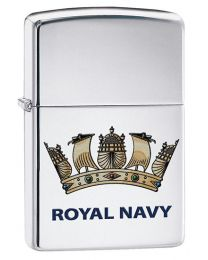 Royal Navy Crest Zippo Lighter in High Polished Chrome - Zippo 60003640