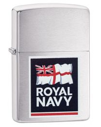 Royal Navy Logo Zippo Lighter in Brushed Chrome - Zippo 60003645