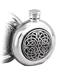 English Pewter Co. 4oz Round Celtic Disc Hip Flask