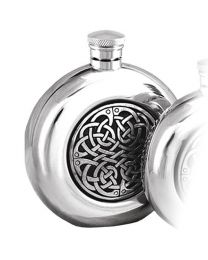 English Pewter Co. 6oz Round Celtic Disc Hip Flask