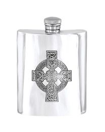 English Pewter Company 6oz Celtic Cross Hip Flask