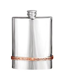 English Pewter Co. 6oz Celtic Copper Band Hip Flask