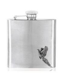 6oz Pheasant Hip Flask in Stainless Steel with Pewter Emblem