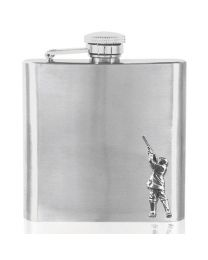 6oz Shooting Hip Flask in Stainless Steel with Pewter Emblem