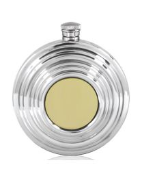6oz Clay Pigeon Shotgun Round Hip Flask in Pewter/Brass