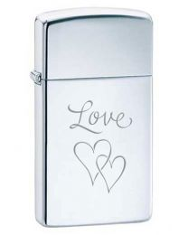 Slim Love Hearts Polished Chrome Zippo Lighter - Zippo E-1610LOVE