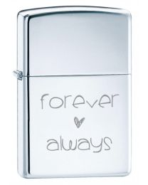 Forever & Always Polished Chrome Zippo Lighter - Zippo E-250FA