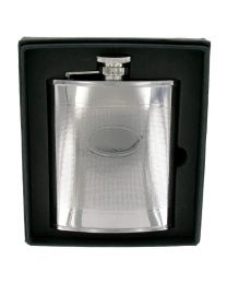 6oz Barley Finish Stainless Steel Hip Flask with Engraving Panel
