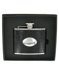 4oz Black Crocodile Finish Leather Hip Flask