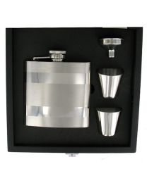 6oz Satin Band Steel Hip Flask Gift Set in Wooden Box