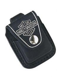 Black Leather Harley Davidson Zippo Lighter Pouch - Zippo HDPBK