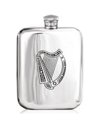 English Pewter Company 6oz Irish Harp Purse Hip Flask