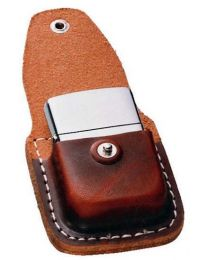 Brown Leather Zippo Lighter Pouch with Clip - Zippo LPCB